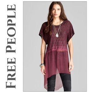 NWT Free People Diamond Dip Dye Linen Tunic (Flaw)